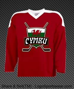 Wales Ice Hockey Jersey with Flag Design Zoom