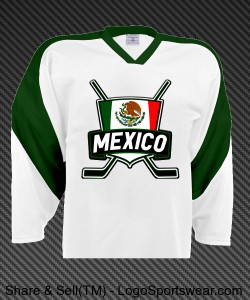 Mexico Ice Hockey Jersey with Flag Design Zoom