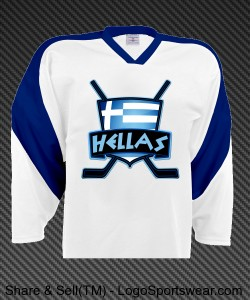 Greek Ice Hockey Jersey with Flag, Hellas Design Zoom