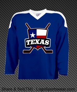 Texas Ice Hockey Jersey with Flag Design Zoom